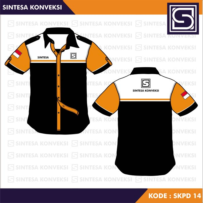 Desain Kemeja Seragam hitam orange putih