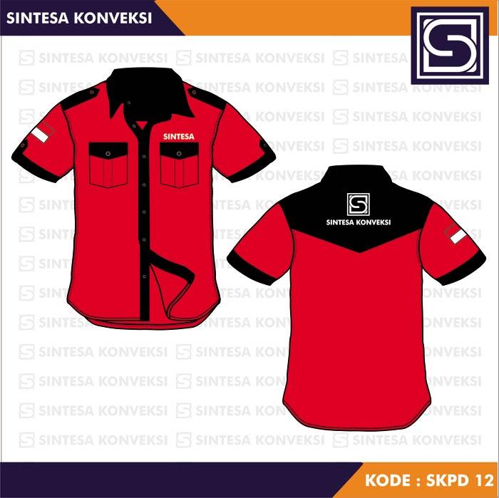Desain Kemeja Seragam merah hitam