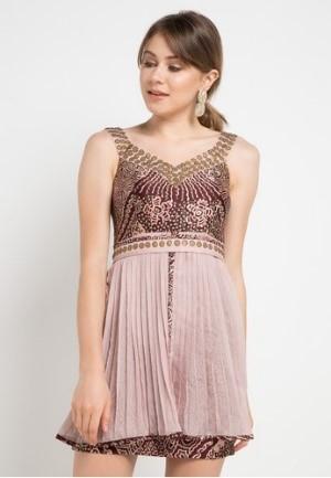 Mini Dress Berpayet Berpangkas Velvet