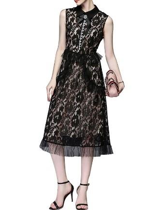 Gaun Mini Polka Dot Hiasan Busur Tanpa Lengan