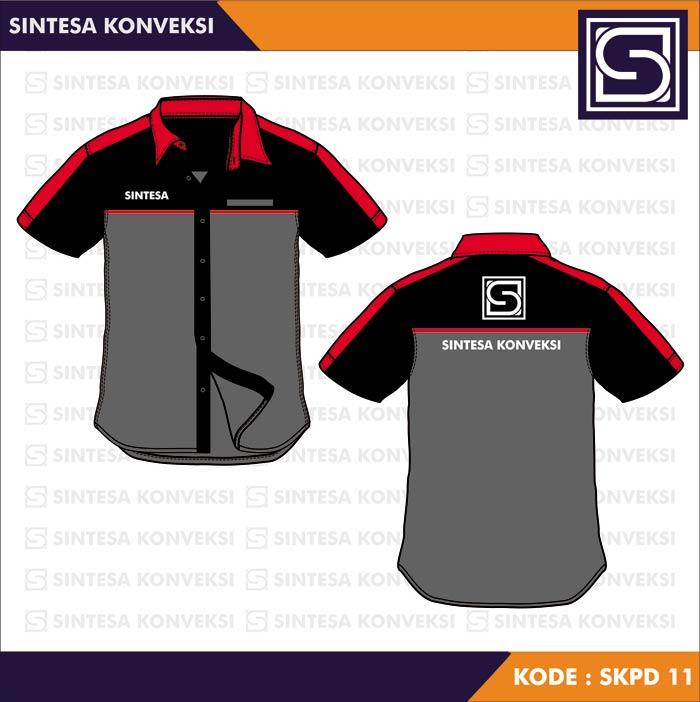desain kemeja abu hitam merah
