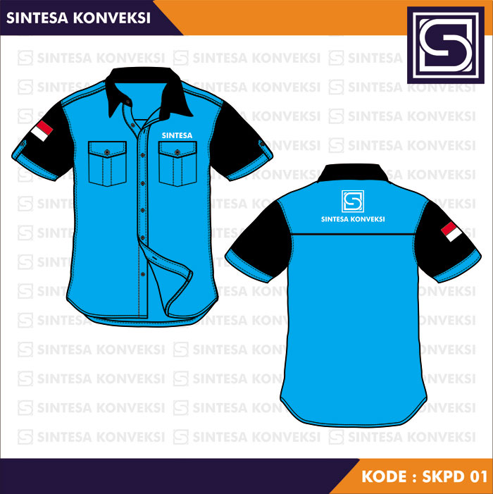 desain kemeja biru muda hitam