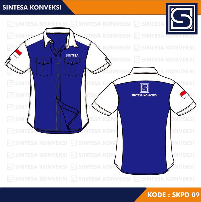 desain kemeja biru putih