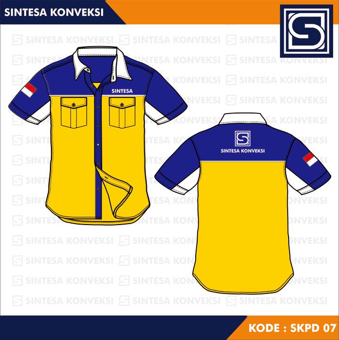 desain kemeja kuning biru