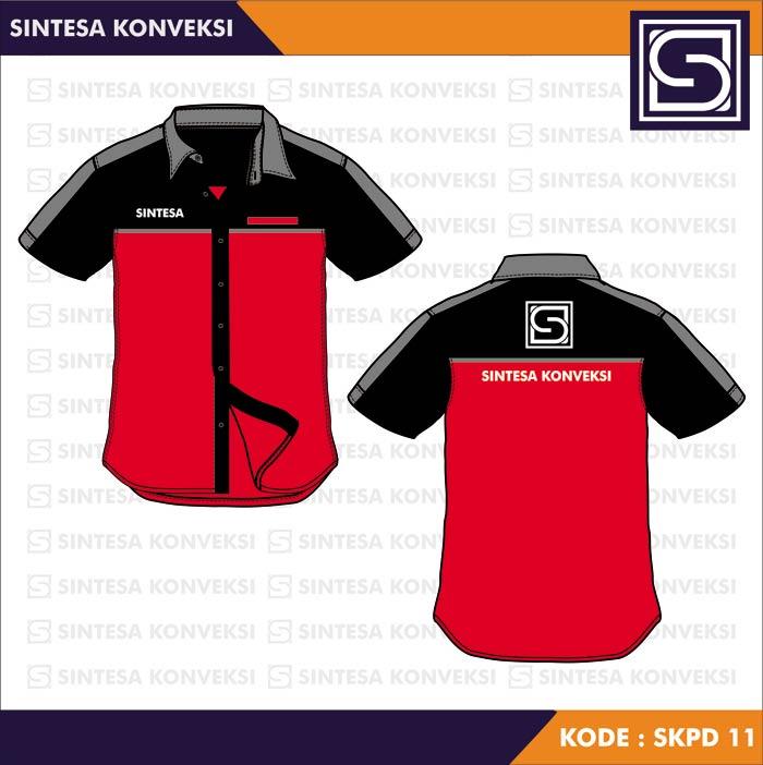desain kemeja merah hitam keren