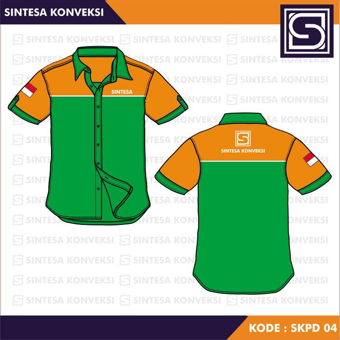 desain kemeja orange hijau