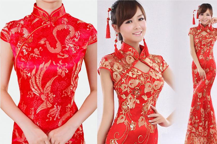 model baju merah dengan kerah shanghai