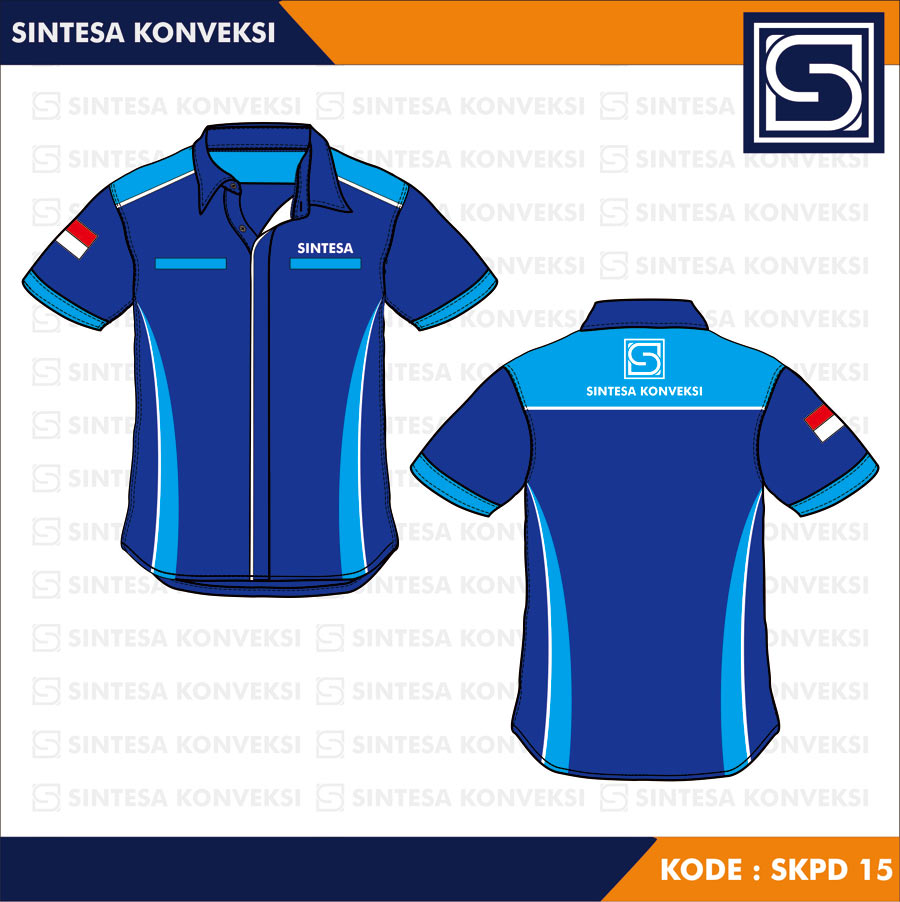 desain kemeja biru