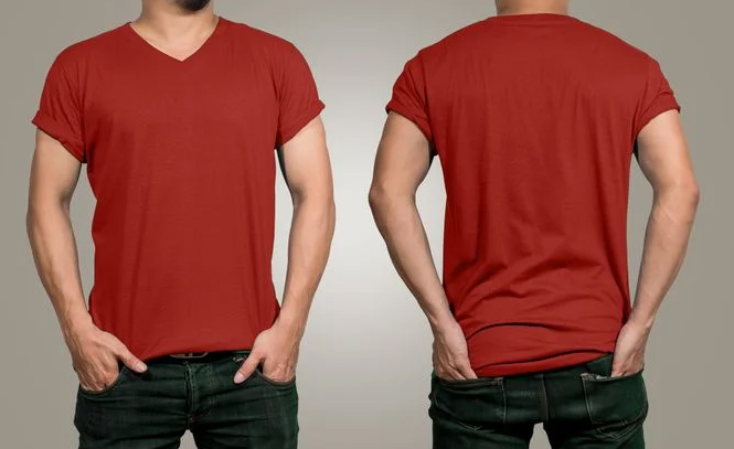 Kaos-Polos-Merah-Maroon-Depan-Belakang
